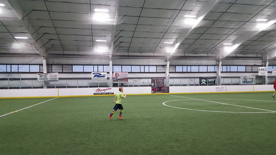 Well lit soccer arena